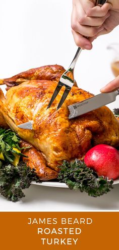 In honor of Thanksgiving, this James Beard roasted turkey recipe honors the great American cook's gourmet-style approach to the Thanksgiving bird. Main Dishes, Side Dishes, Roast Turkey Recipes, Michelin Star Food, Salt Pork, James Beard, Roasted Turkey, Turkey Breast, Stick Of Butter