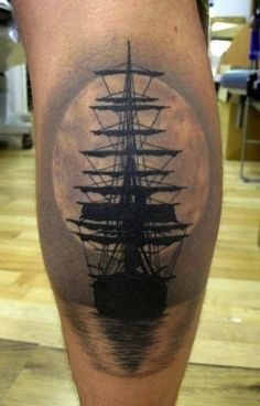 This is such a classic ship silhouette. #InkedMagazine #ship #tattoos #tattoo #Inked #Ink