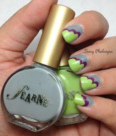 Grey, purple & green nail art