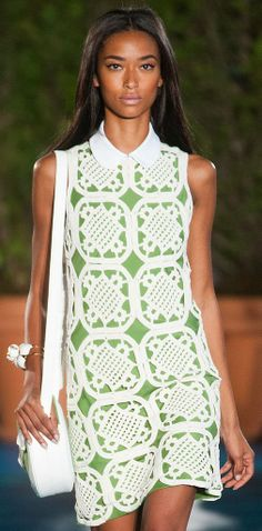 Tory Burch Spring 2014. I would need a different neckline but the overlay of lace on bold color is divine