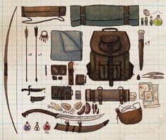 Drew out my dnd character Anders' inventory this morning. Character Concept, Character Art, Concept Art, Character Ideas, Prop Design, Game Design, Dnd Characters, Fantasy Characters, Kleidung Design