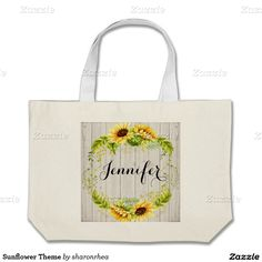 Sunflower Theme Jumbo Tote Bag - http://www.zazzle.com/sunflower_theme_jumbo_tote_bag-149753251879865705