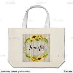 Sunflower Theme Jumbo Tote Bag - http://www.zazzle.com/sunflower_theme_jumbo_tote_bag-149753251879865705