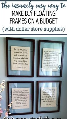 The low-cost way to make floating frames for any wall art. Whether your style is rustic farmhouse or more modern, these transparent floating frames are such a beautiful way to display decor like my free printables, quotes, Bibble verse wall art, etc. This dollar store hack will help you make a framed wall art collage that can be hung in your living room, dining room, bedroom, etc. Diy Wall Art, Diy Wall Decor, Framed Wall Art, Diy Décoration, Easy Diy, Home Renovation, Bibble Verses, Scripture Wall Art, Framed Quotes