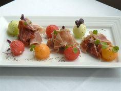 Jambon de Bayonne (air dried salted ham) and Melon Trio with poppy seed vinaigrette