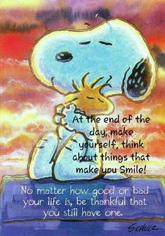 At the End of the Day, Make Yourself Think About Things That Make You Smile - No Matter How Good or Bad Your Life Is, Be Thankful You Still Have One - Snoopy Hugging Woodstock