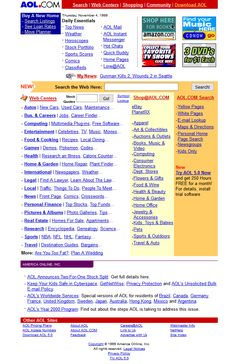 Look at how AOL website looked in 1999 and travel with us through the history of web design. Bad Websites, Web History, Web Archive, Aol Mail, Search Web, Buying A New Home, Design Museum, Timeline, Horoscope