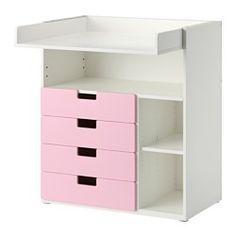 IKEA - STUVA, Commode met 4 lades, wit/roze, , Deze commode groeit mee met je kind en kan eenvoudig worden omgetoverd tot bureau of speelvlak als je het bovenste gedeelte omkeert en laat zakken tot op de gewenste hoogte.Praktische opberger om alles binnen handbereik te hebben, zodat je altijd een hand op je baby kan houden.Eenvoudig aan te passen aan de behoefte omdat de kleine planken verstelbaar zijn.