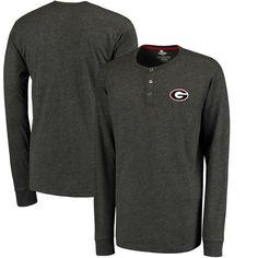 Georgia Bulldogs Colosseum Fahrenheit Long Sleeve Henley T-Shirt - Heathered Black - $27.99