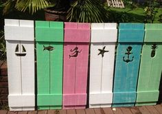 Shutter Exterior Interior ONE Cedar Wood Painted OR Unpainted Beach Cottage Lake Country House Shutter - 57 Inch by CastawaysHall Beach Cottage Style, Beach Cottage Decor, Coastal Cottage, Coastal Style, Coastal Decor, Cottage Ideas, Coastal Living, Custom Shutters, Diy Shutters