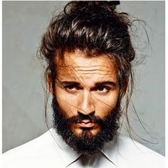 This brooding beefcake. | 23 Beard And Man Bun Combinations That Will Awaken You Sexually