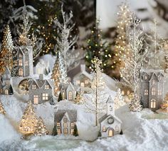 Around the Watts House: Pottery Barn Inspired Christmas Village. I always wanted a Christmas village! Noel Christmas, Little Christmas, Winter Christmas, Vintage Christmas, Christmas Ornaments, Christmas Glitter, Elegant Christmas, Christmas Mantles, Silver Ornaments