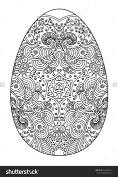 Zentangle black and white decorative Easter egg. Vector illustration.