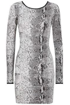 Monochrome Snake Print Long Sleeve Bodycon Dress Fabric- 95�0Polyester