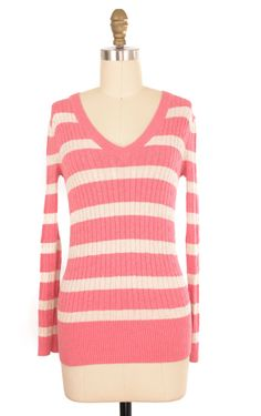 Tommy Hilfiger Pink and White Striped Cable Knit Sweater Size S | ClosetDash #tommyhilfiger #sweater #fashion #style
