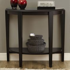 Monarch Specialties Wood Crescent Console Table with Shelf, Cappuccino Half Moon Console Table, Half Moon Table, Entryway Console Table, Entryway Decor, Console Tables, Half Circle Table, Hallway Decorating, Interior Decorating, Custom Mirrors