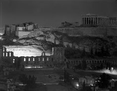 Lights on under the sacred rock of the Acropolis. Photo by Dimitris Harissiadis. Greece Pictures, Old Pictures, Old Photos, Greek Town, Greece History, Benaki Museum, Genius Loci, Acropolis, Museum Collection