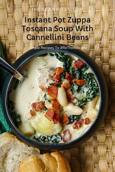This creamy Instant Pot Zuppa Toscana soup has an extra pack of protein with the addition of cannellini beans. Together, the white beans and pork blend seamlessly with milk and pecorino cheese make a soup hearty enough for a filling winter meal. Kale adds a punch of extra fiber too. Hearty | Tasty | One Pot | Instant Pot | White Bean Recipes, Zuppa Toscana Soup, Pecorino Cheese, How To Make Cheese, White Beans, Winter Food, Soups And Stews, Kale, Instant Pot