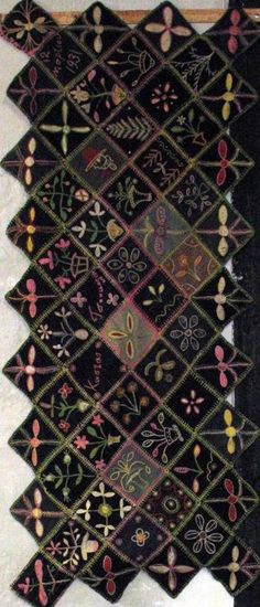 EMBROIDERED ANTIQUE TABLE MAT WITH SAWTOOTH EDGE   Price $1450.00