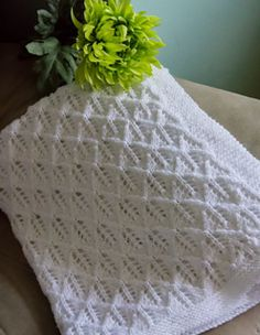 Free Knitting Pattern for Angelic Feathers Baby Blanket - Lace diamond baby blanket. Size 34 x Written instructions. Designed by Alice Kalush. Free Knitting Pattern for Angelic Feathers Baby Blanket - Lace diamond baby blanket. Baby Knitting Patterns, Free Baby Blanket Patterns, Crochet Blanket Patterns, Baby Patterns, Free Knitting, Easy Knit Baby Blanket, Baby Shawl, Knitted Baby Blankets, Baby Blanket Size