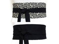 2 SOIES Haute Couture Ceinture Obi a nouer Noir  amp  Blanc Ceinture Obi,  Rayures d3d12b8d829