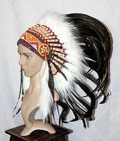 NEU Indianer Kopfschmuck Federhaube echte Federn SCHWARZ Federschmuck Fotoshooting: Amazon.de: Küche & Haushalt