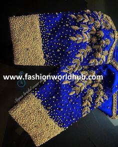 Mind blowing Maggam work blouse designs by Sajna bridal wear designer! Kids Blouse Designs, Hand Work Blouse Design, Stylish Blouse Design, Fancy Blouse Designs, Saree Jacket Designs, Wedding Saree Blouse Designs, Wedding Blouses, Traditional Blouse Designs, Maggam Work Designs