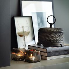 A vignette with interesting objects, all understated, stacked art