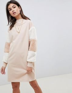 Buy ASOS DESIGN funnel neck sweat dress with faux fur sleeves at ASOS. With free delivery and return options (Ts&Cs apply), online shopping has never been so easy. Get the latest trends with ASOS now. Mode Pop, Sweat Dress, Pop Fashion, Fashion Trends, Fashion Inspiration, Asos Dress, Sweatshirt Dress, Embellished Dress, Dresses With Leggings