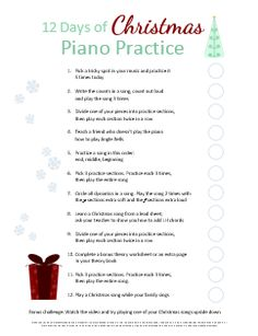 12 Days of Christmas Piano Practice! Help kids explore new ways to practice effectively. There's even a place to add a sticker so they can earn a treat after they finish.    Free printable