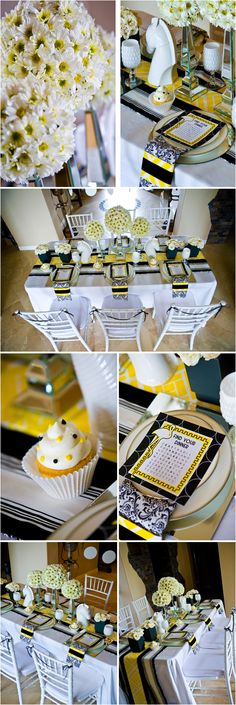 I love the table runner, the flower center pieces and the simple cupcake with the navy and yellow sprinkles!