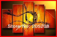 Framed 5 Panel Abstract Oil Painting on Canvas Art Red Wall Pictures Home Decoration S0223