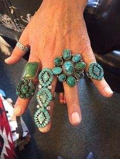 Friends stop by and try em all on!!! Vintage Zuni and Navajo rings