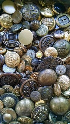 sewing Items similar to Awesome Assortment of Vintage Gold Metal Buttons! Upcycle Repurpose Destash Metal Buttons, Vintage Buttons, Vintage Metal, Vintage Silver, Vintage Items, Vintage Sewing Notions, Vintage Sewing Machines, Sewing Spaces, Sewing Rooms