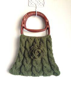 Woodland Handbag-Knitted handbag with rattan handles-Moss green knitted handbag-Green handbag-Rose Handbag-Forest green
