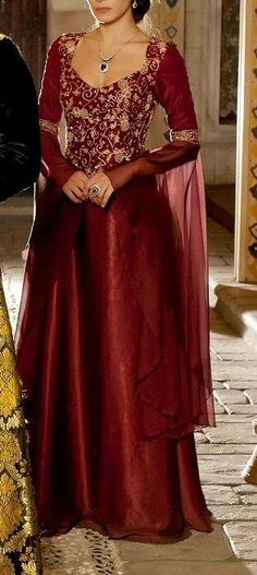Red and gold medieval dress
