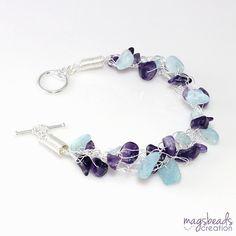 Light Blue Aquamarine and Purple Amethyst Crochet Wire Jewelry, Pastel Shade, Crochet Bracelet, Handmade Gift Under 50, Free Shipping