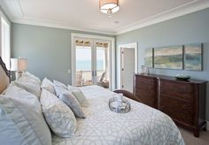 """A """"favorite paint color for Master Bedrooms"""": """"Benjamin Moore 2138-50 Misted Green""""."""