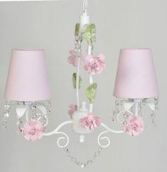Luminária Infantil 2 Lampadas Provensal Menina Flor Lustre