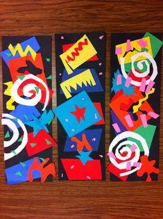 Drip, Drip, Splatter Splash: Matisse Cutouts 1st grade elementary art project idea