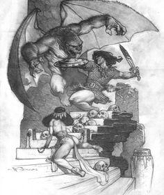 Conan & Winged Ape 2005 Comic Art