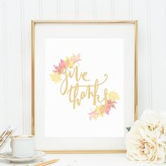 Give Thanks, Give Thanks Print, Thanksgiving Prints, Thanksgiving Decor, Fall Decorations, Autumn Prints, Leaf Print, Maple Leaves, Leaf Art on Etsy, $5.00