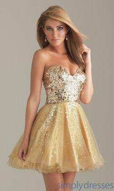 Oro corto vestido de fiesta NM-6498