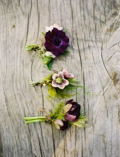 Purple and green buttonholes