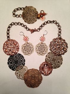 Monthly Challenge: Mixed Metals Mania. All components from B'sue Boutique, chain from my stash. MJ Casady Copper Works