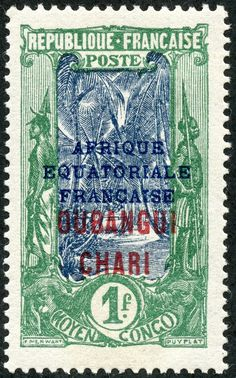 """Ubangi-Chari  1925 Scott 66 1fr green & indigo """"Coconut Grove"""" Color Type of Middle Congo 1907-22, Overprinted in Red With Additional Overprint in Blue"""