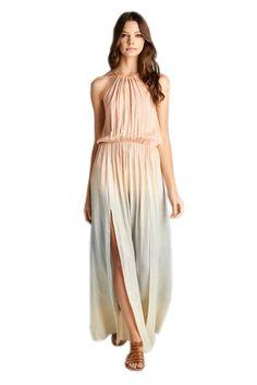 AAKAA Women's Tie Dye Maxi Dress w/belt