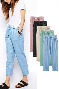 Freely Womens Pure Color Elastic Waist Plus Size Patchwork Loose Trouser Jean