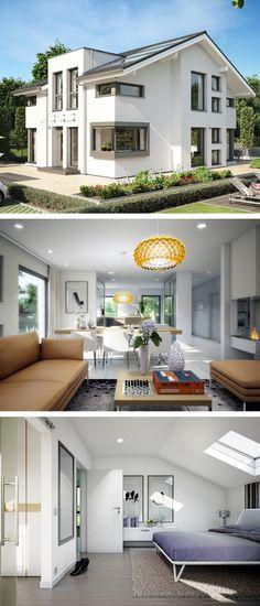Moderne Einfamilienhaus Architektur mit Satteldach & Querhaus - Haus Concept-M 152 Bien Zenker Fertighaus Ideen - HausbauDirekt.de