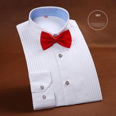 High-End Men'S Tuxedo Shirt Solid Color Long Sleeved Shirt Wedding Party Men'S Shirts White Blue